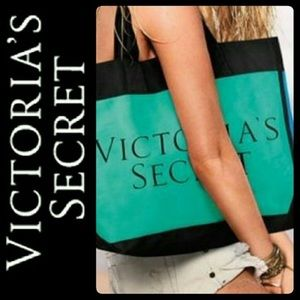 Victoria's Secret Tote travel Bag Green & Blue